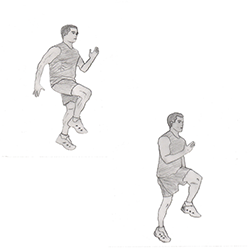 Legs-High knees running in place