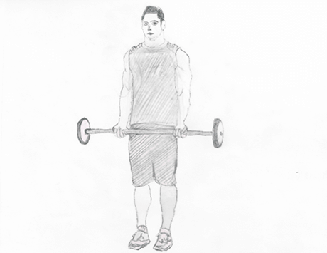 Step 1 for exercise Wide grip standing Biceps barbell curl