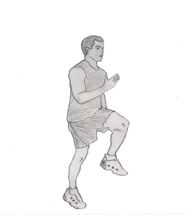 Step 2 for exercise High knees running