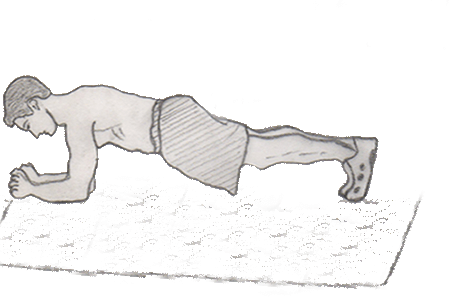 Plank is a very good exercise which helps to increase strengthen your back, abs and shoulder muscles. You don't need any equipment to perform a plank.