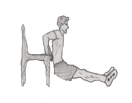 Step 2 for exercise Triceps dip on chair