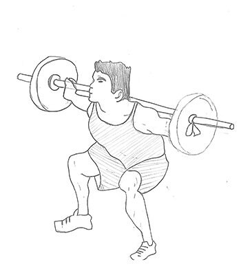 Step 2 for exercise Wide Stance Barbell Squat