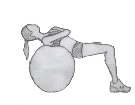 Step 1 for exercise Ball Crunch