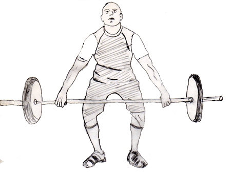 Step 1 for exercise Hang snatch