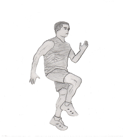 High knees running in place is a very good exercise for your legs and helps to improve your cardiovascular endurance.