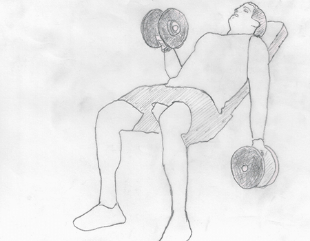 Step 1 for exercise Incline Dumbbell Curls