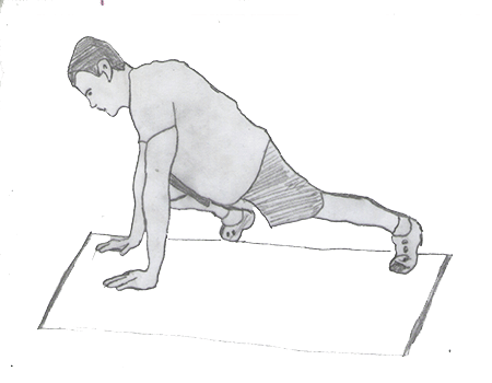 Step 1 for exercise Knees-to-elbows