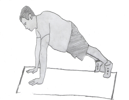 Step 2 for exercise Knees-to-elbows