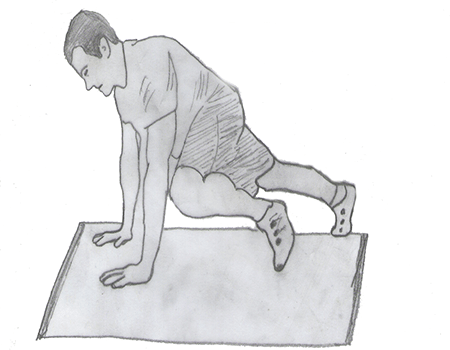 Step 3 for exercise Knees-to-elbows
