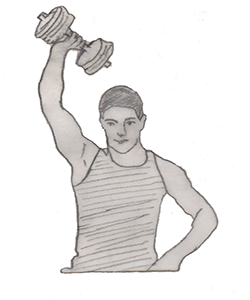 Step 2 for exercise One Arm Triceps Extension