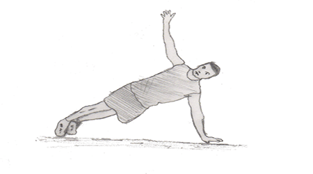 Step 2 for exercise Push up and rotation