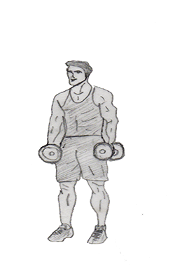 Step 1 for exercise Dumbbell Shrug