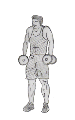 Step 2 for exercise Dumbbell Shrug