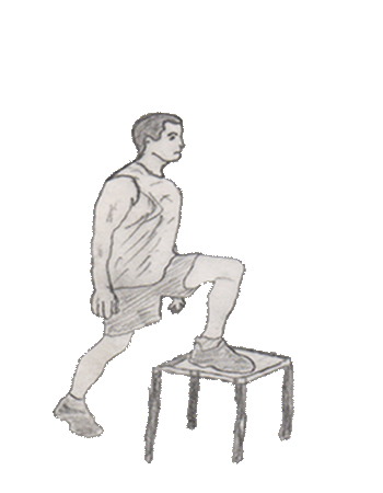 Step-up onto the chair is a leg exercise which helps to strengthen your lower body, quadriceps, glutes and the hamstring.
