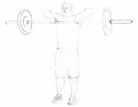 Step 2 for exercise Upright Barbell Row