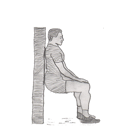 Wall sit is a very good exercise which targets your entire thigh area, your quad, and your inner thigh, the back of the leg, the hamstring and your glutes.