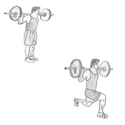 Body weight-Barbell Lunge