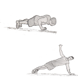 Body weight-Push up and rotation